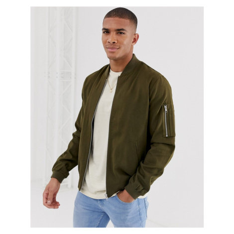ASOS DESIGN ma1 bomber jacket in khaki