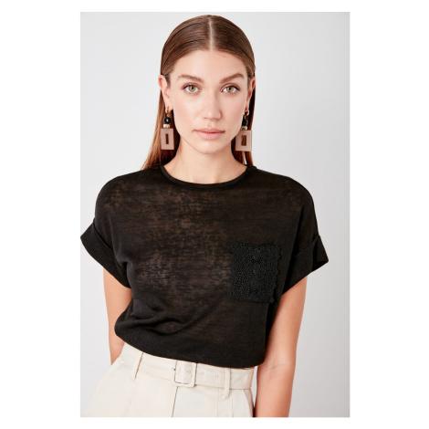Trendyol Black Pocket detailed knitted T-shirt
