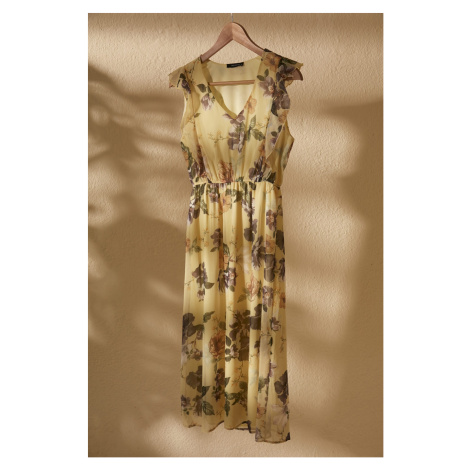 Trendyol Yellow Floral Patterned Dress