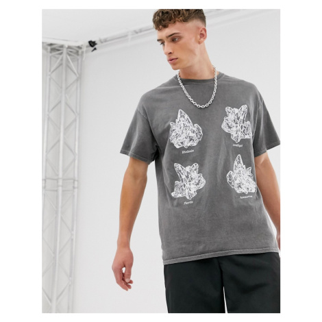 Reclaimed Vintage overdye tshirt with crystal print