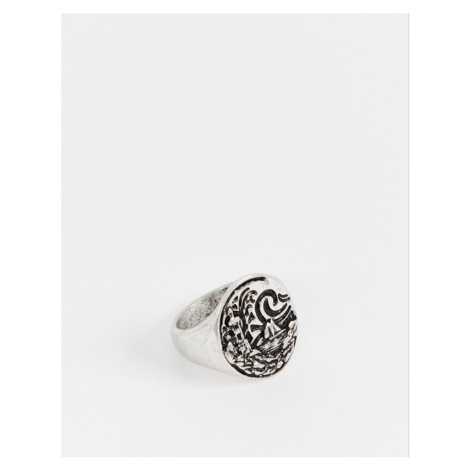 ASOS DESIGN chunky nautical ring with emboss in burnished silver tone