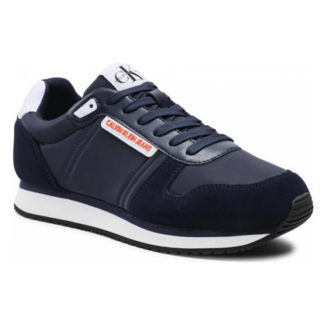 Calvin Klein Jeans Sneakersy Runner Sneaker Laceup Pu-Ny YM0YM00038 Granatowy