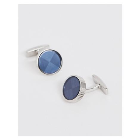 BOSS Dorian round cufflinks in blue Hugo Boss