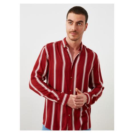 Trendyol wiśniowy/bordowy męska w paski koszula