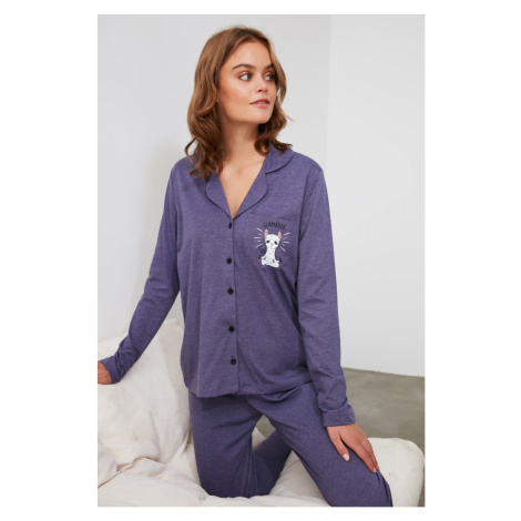 Trendyol Knitted Pajama Set with Navy Front Button