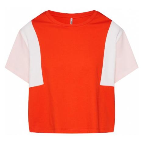 ONLY Koszulka 'Team' pomarańczowy / stary róż / biały