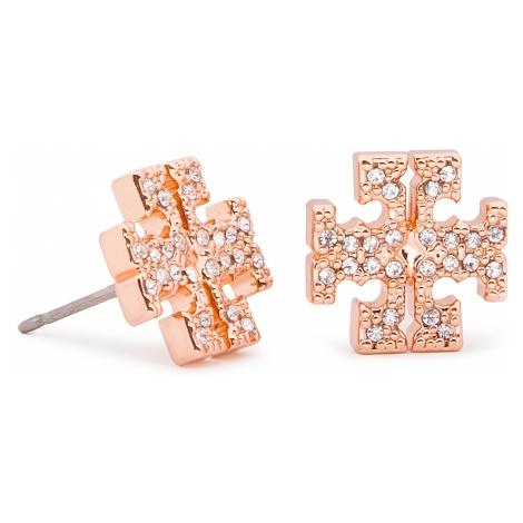 Kolczyki TORY BURCH - Crystal Logo Stud Earring 53423 Rose Gold/Crystal 696