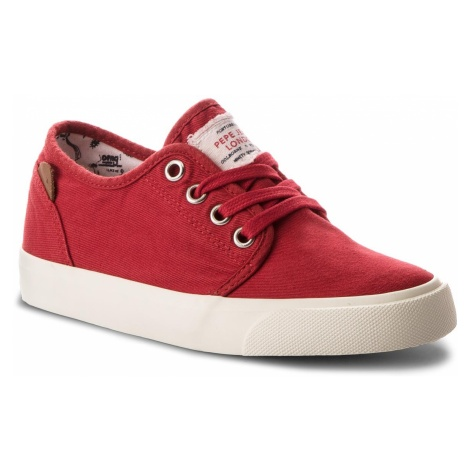 Tenisówki PEPE JEANS - Traveler Washed PBS30354 Crispy Red 241