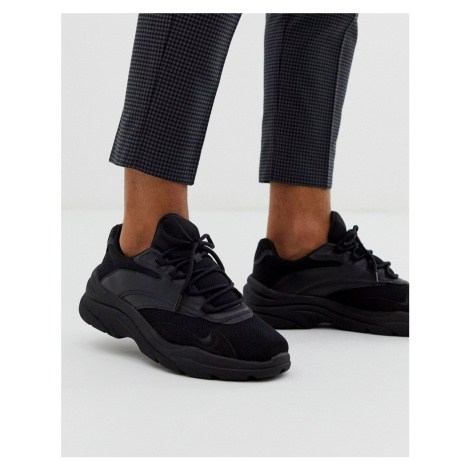 Bershka chunky sole trainer with side detailing in black