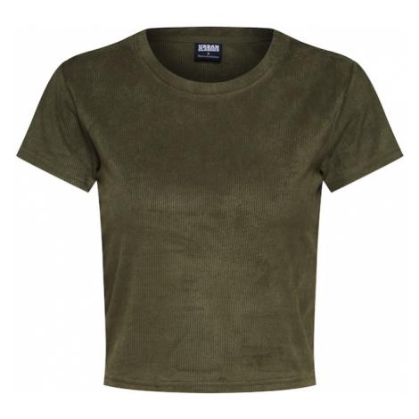 Urban Classics Koszulka 'Ladies Cropped Peached Rib Tee' oliwkowy