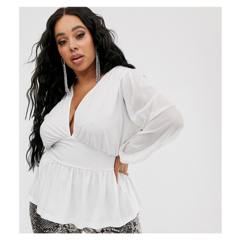 ASOS DESIGN Curve mesh long sleeve top with corset waist in white