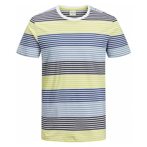 JACK & JONES Koszulka niebieski / jasnożółty / biały