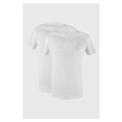 2 PACK białych T-shirtów GANT Crew