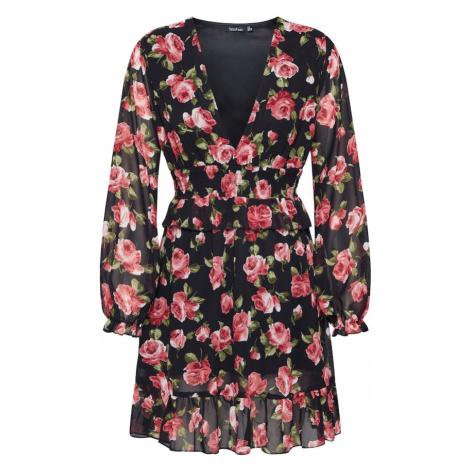 Boohoo Sukienka koszulowa 'Floral Plunge ' czerwony / czarny