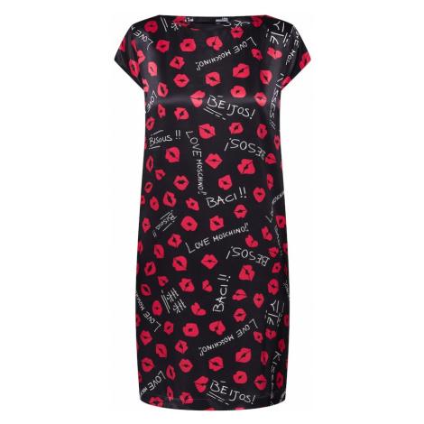 Love Moschino Sukienka 'ABITO DRITTO M/C ALLOVER SMACK' czerwony / czarny