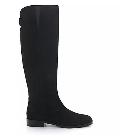 Dolce & Gabbana - Buty Kozaki zamsz Logo czarny