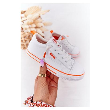 Sneakersy skórzane dla dzieci BIG STAR HH374036 Biało-pomarańczowe