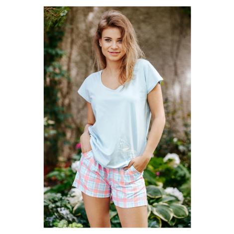 Kobieca bawełniana piżamka - koszulka i szorty Key