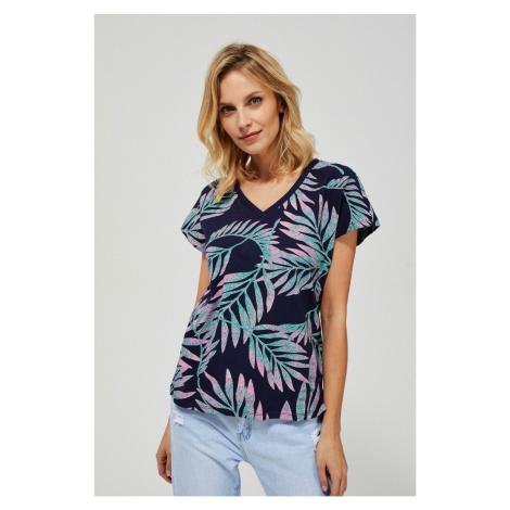 Moodo niebieska koszulka z liśćmi palmowymi