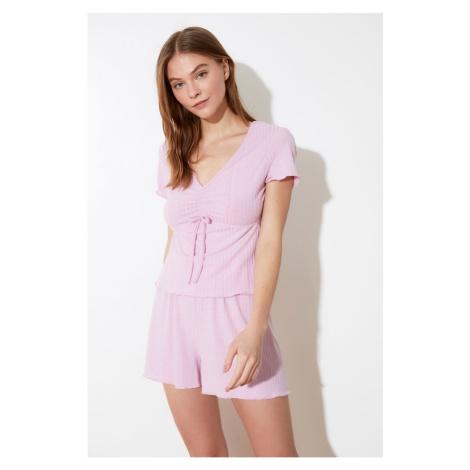 Trendyol Lila Binding Cashkorse Knitted Pyjama Set