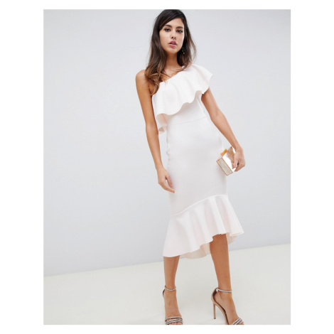 ASOS DESIGN One Shoulder Ruffle Midi Bodycon Dress