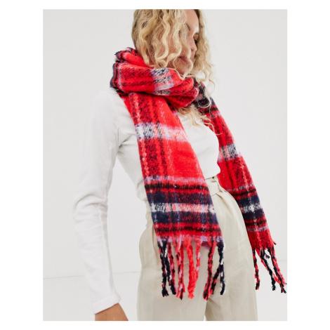 ASOS DESIGN oversized long fluffy red tartan check scarf