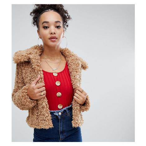 Boohoo teddy faux fur cropped jacket in camel