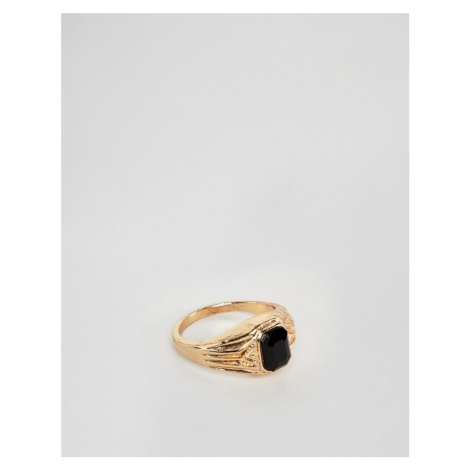 ASOS DESIGN vintage style signet ring in gold tone with black stone