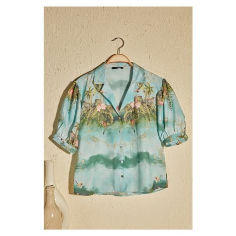 Modsolo MultiColor Tropical Koszula z nadrukiem Trendyol