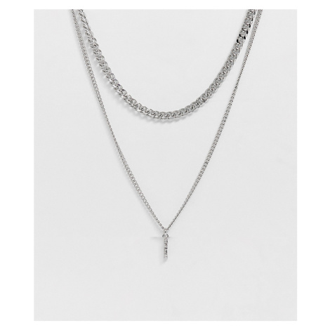ASOS DESIGN mixed layered neckchain with mixed charm in silver tone