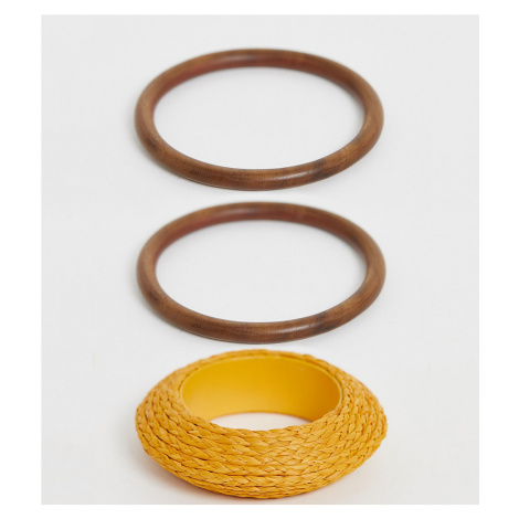 Glamorous Exclusive straw rattan and wood bangle pack