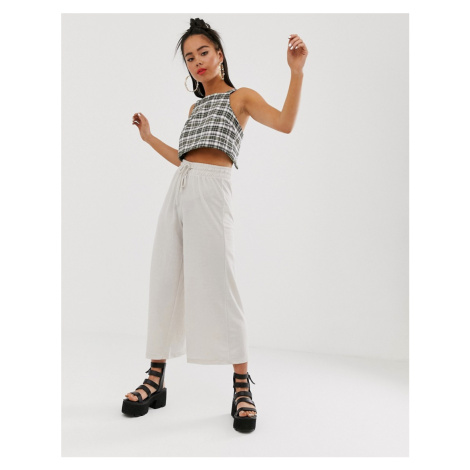 Bershka wide leg drawstring trousers in cream