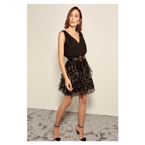 Trendyol Black Sequin Embroidered Skirt