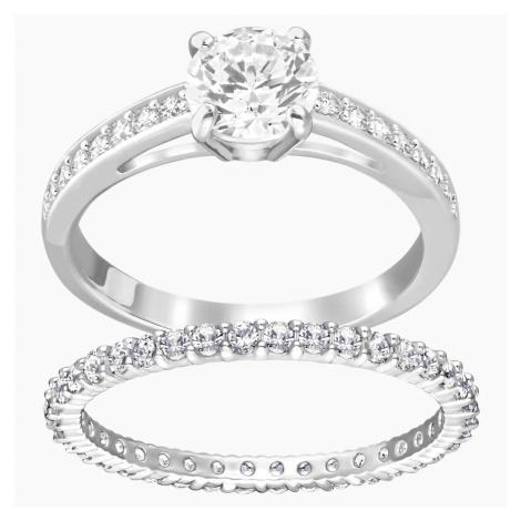 Zestaw pierścionków Attract, biały, powlekany rodem Swarovski