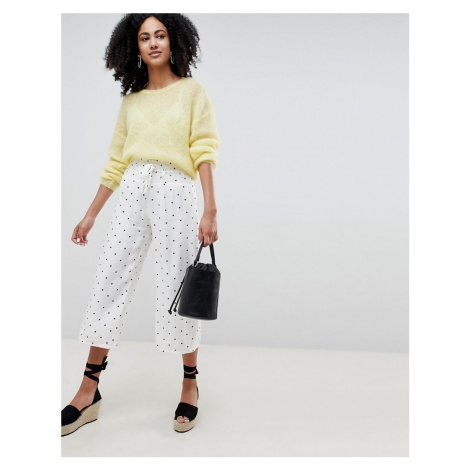 Lost Ink Wide Leg Trousers With Corset Waist In Spot Print