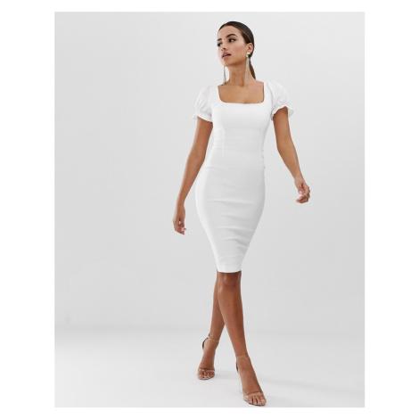 Vesper bodycon dress with blouson sleeve in white