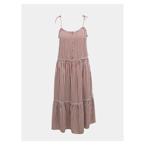 Brązowa sukienka midi w paski ONLY Fabulous