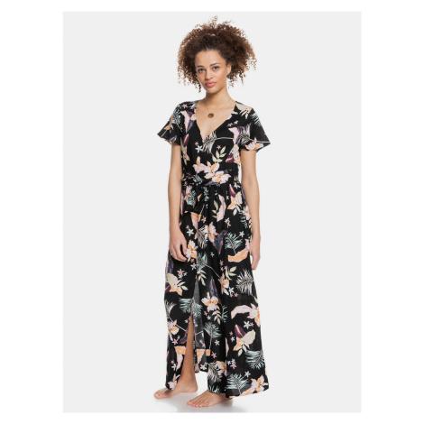 Roxy czarny maxi sukienka z motywami tropikalnymi