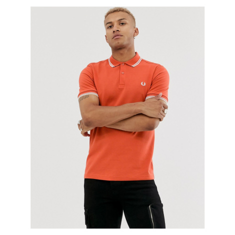 Fred Perry twin tipped polo in deep orange