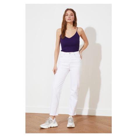Trendyol Białe dżinsy z wysokim stanem proste