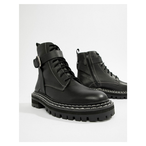 ASOS DESIGN Premium atomic leather chunky lace up boots