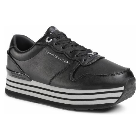 Sneakersy TOMMY HILFIGER - Glitter Mix Flatform Sneaker FW0FW05236 Black BDS