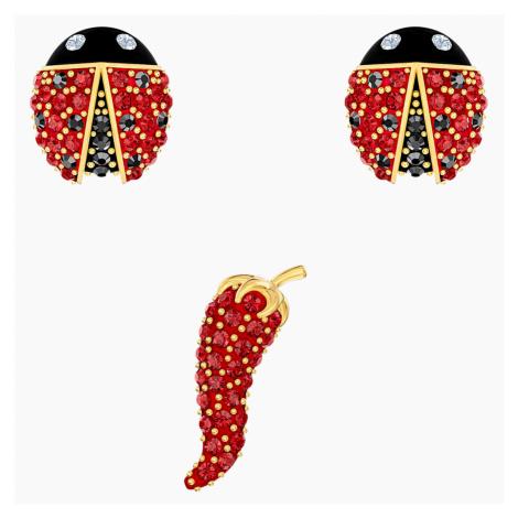 Zestaw kolczyków sztyftowych Lisabel, czerwony, w odcieniu złota Swarovski