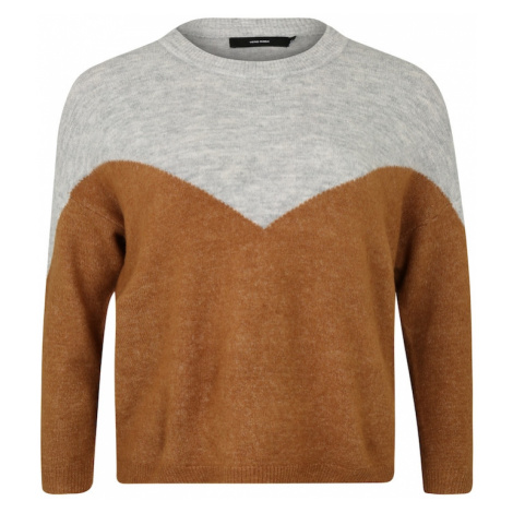 Vero Moda Curve Sweter 'MRANA' brązowy / nakrapiany szary