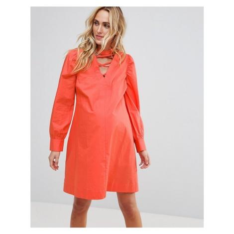 ASOS Maternity PETITE Tie Waist mini dress with Lattice Front