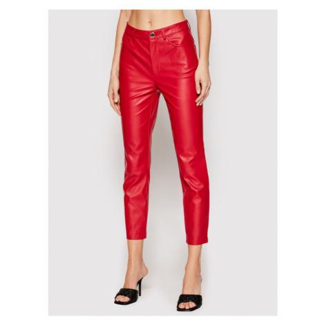 Pinko Spodnie skórzane Susan 14 PE 21 BLK01 1G15ZV 7105 Czerwony Slim Fit