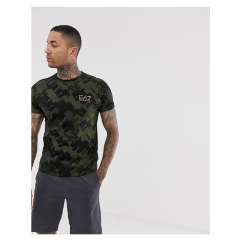 EA7 Graphic Series camo print t-shirt in khaki Armani