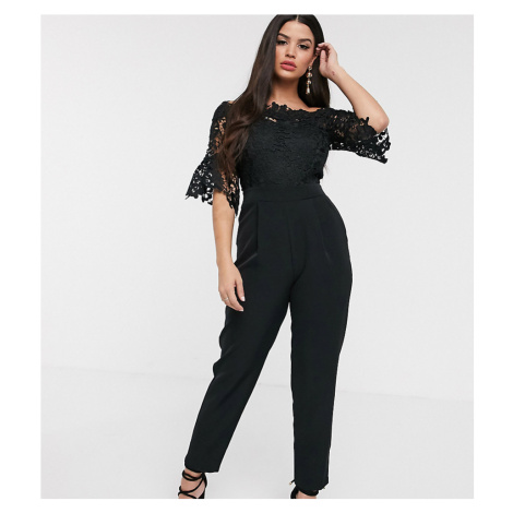 Paper Dolls Petite bardot cutwork lace tailored jumpsuit in black