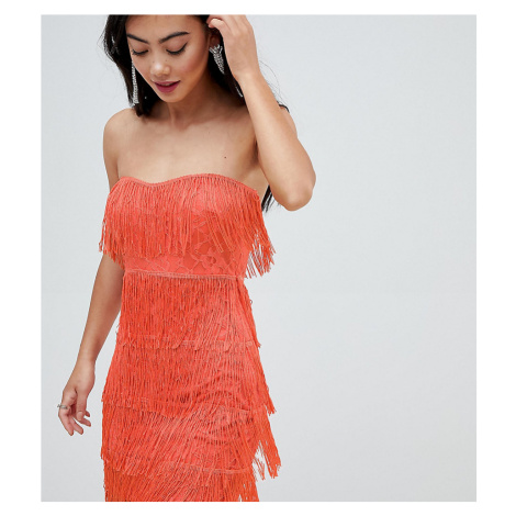 ASOS DESIGN Petite lace insert fringe bandeau mini dress