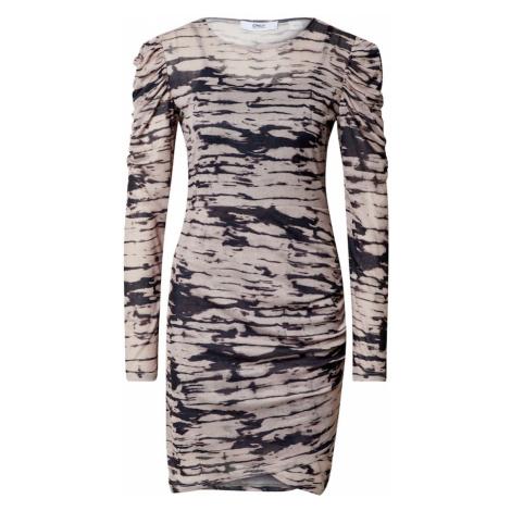 ONLY Sukienka 'Jessica' czarny / ciemnobrązowy / offwhite